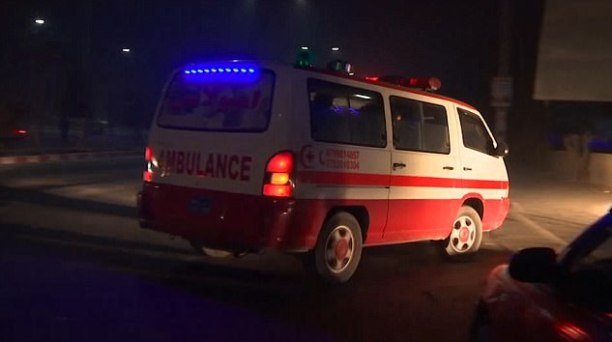 An ambulance at the scene of the most up-to-date suicide attack in the Afghan capital Kabul