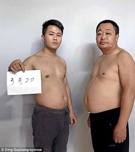 Guoliang le pidió a su esposa y a su madre que tomaran fotos de él y su padre cada 10 días para capturar los cambios en sus cuerpos.  Esta es la primera foto tomada el 20 de marzo de 2017