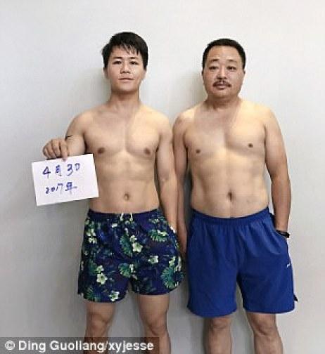 Tanto Guoliang como su padre parecen más seguros en la foto tomada el 30 de abril