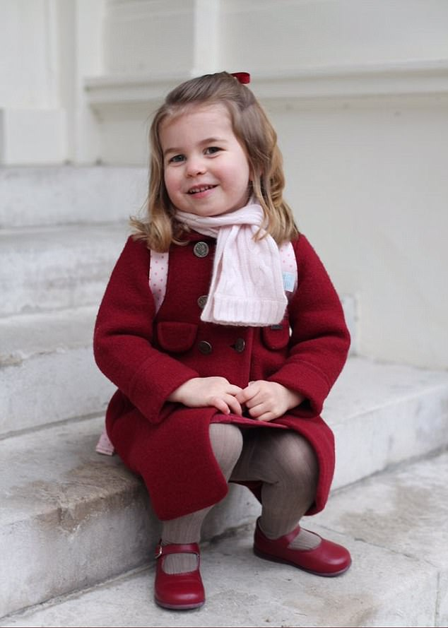 Princess Charlotte's first day at nursery school has been marked by the release of two pictures taken by her proud mother, the Duchess of Cambridge