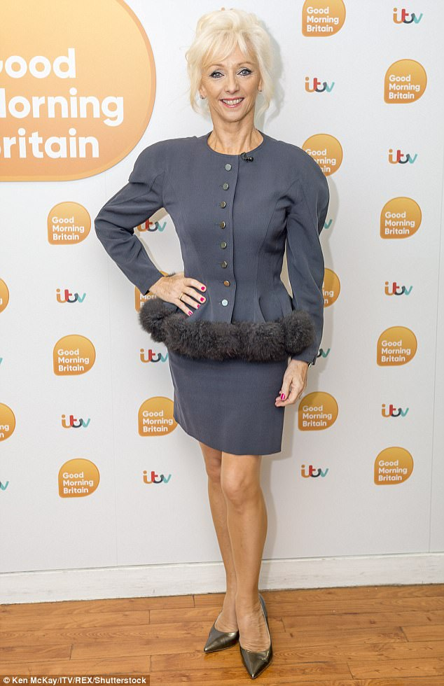Following suit: Strictly star Debbie McGee also appeared on the show, in a chic grey co-ord lined with faux-fur