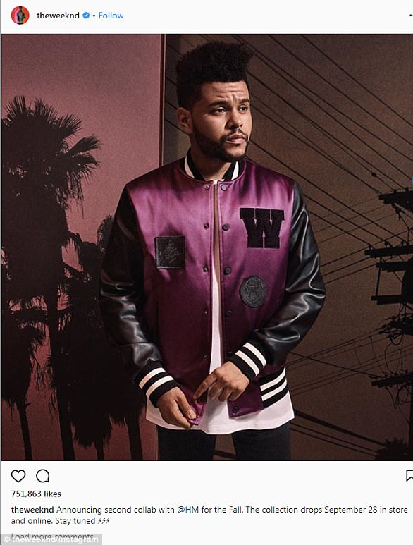 Longtime relationship: The Weeknd has twice collaborated with H&M on a line of clothes and performed at the brand's Spring 2017 fashion show