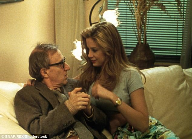 Sorvino writes that it was difficult to publicly renounce Allen, the director who cast her in the 1995 romantic comedy Mighty Aphrodite. Her work on the film earned her an Academy Award for best supporting actress. Sorvino and Allen are seen above in a scene from the film