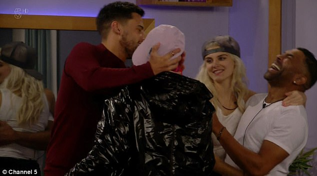 Bromance: The pair, who insisted there is 'no sexual tension' between them, sent viewers wild as they puckered up for a quick peck while trying to encourage Ashley James and Ginuwine to follow suit