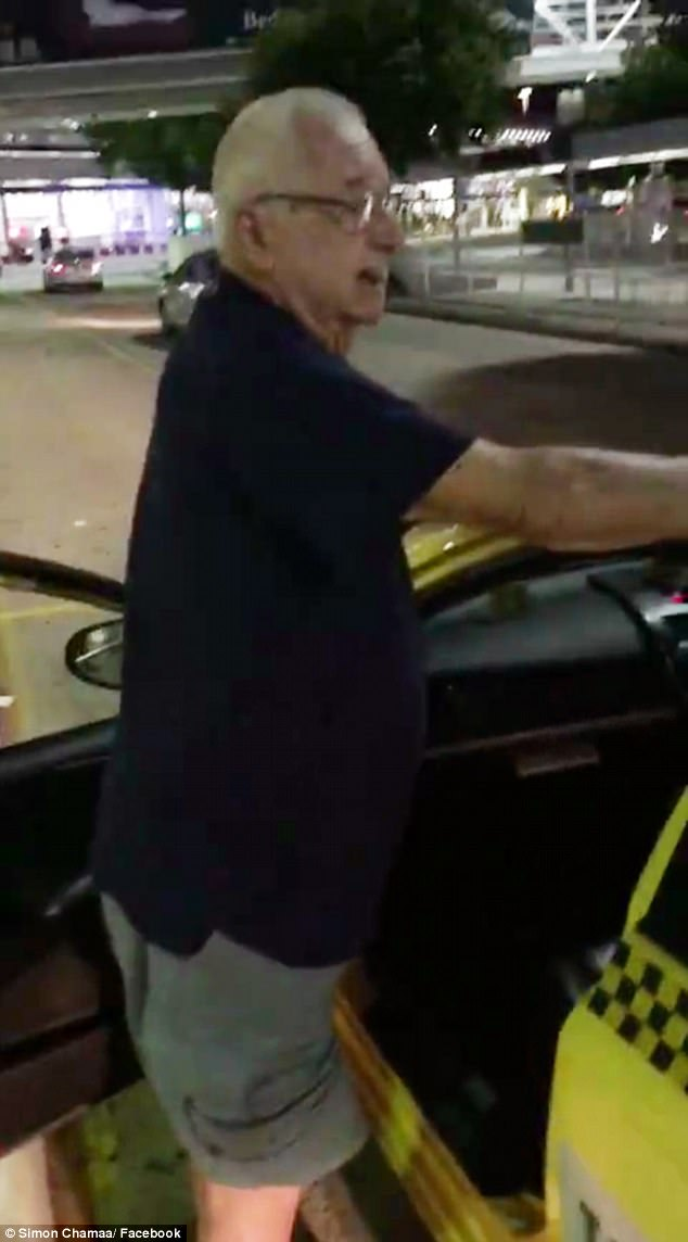 The passerby - who filmed the confrontation and uploaded it to Facebook - said the elderly man (pictured) was 80-years-old and appeared to require medical assistance