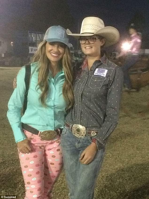 'Dreams come true just met Fallon Taylor': Katelyn Simpson (right) pictured with Fallon Taylor at Warwick for a rodeo competition