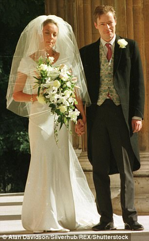 Lady Lucan's daughter Camilla Bingham is pictured with her brother George at her wedding in Eaton Square in September 1998