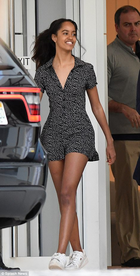 Figure-flattering: Malia was a true beauty in her black and white patterned jumpsuit