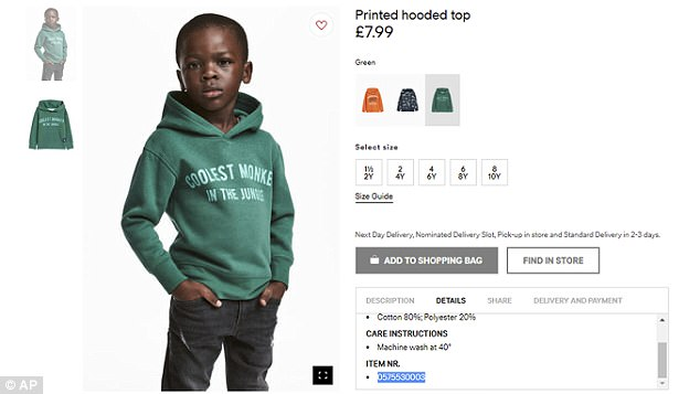 H&M has come under fire over an ad featuring a black child model wearing a jumper emblazoned with 'Coolest Monkey in the Jungle'