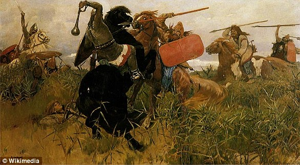 The Scythians were a barbaric group of horse-riding nomads who dominated a vast stretch of Eurasia from the ninth to first centuries BC. Pictured is an 1881 painting of a battle between Scythians (right) and Slavs (left)