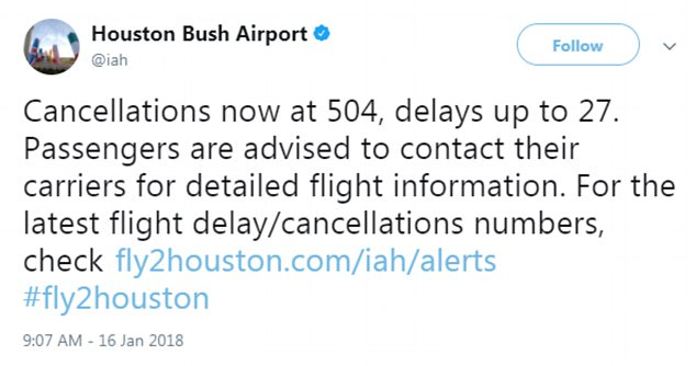 In Houston, George Bush Intercontinental Airport has announced 528 cancellations (pictured) and 59 cancellations were made at William P Hobby Airport