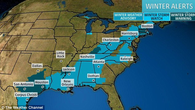 'Winter Storm Warnings' were in place in San Antonio and Houston while the rest of the corridor received a 'Winter Storm Watch'