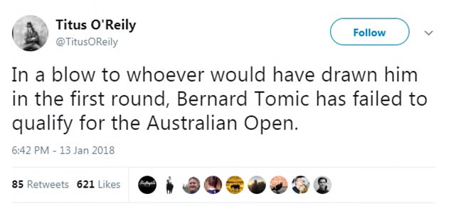 Legendary American tennis player Andy Roddick was among those to slam Tomic following his comments on the weekend. The Queenslander has often proved a divisive figure for the public