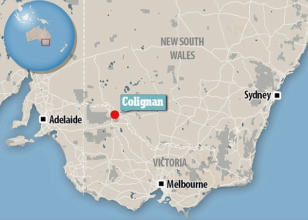 Ms Blake spent most of her time in Australia working on a farm at Colignan, near Mildura in Victoria's northwest (pictured on the map)