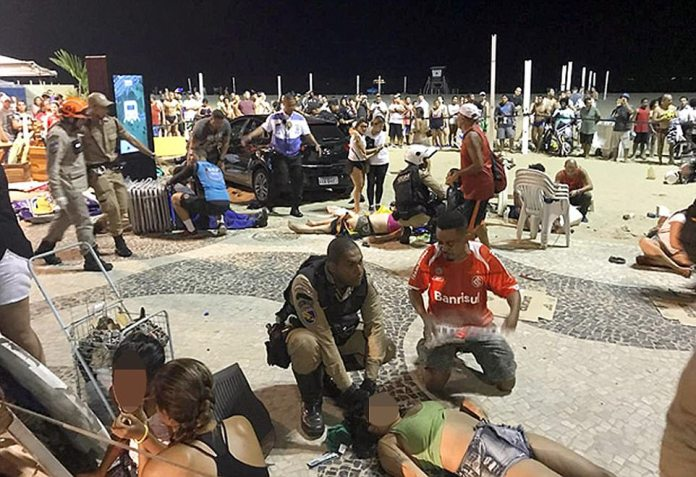 Multiple people have been injured after a car ploughed into pedestrians on a packed promenade closed to Copacabana Beach in Brazil