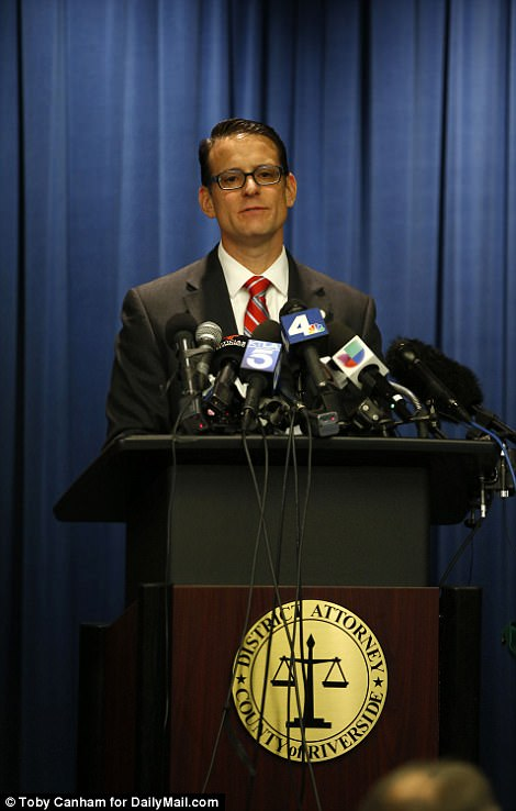 Riverside County District Attorney Michael Hestrin (pictured) announced the charges earlier in the day