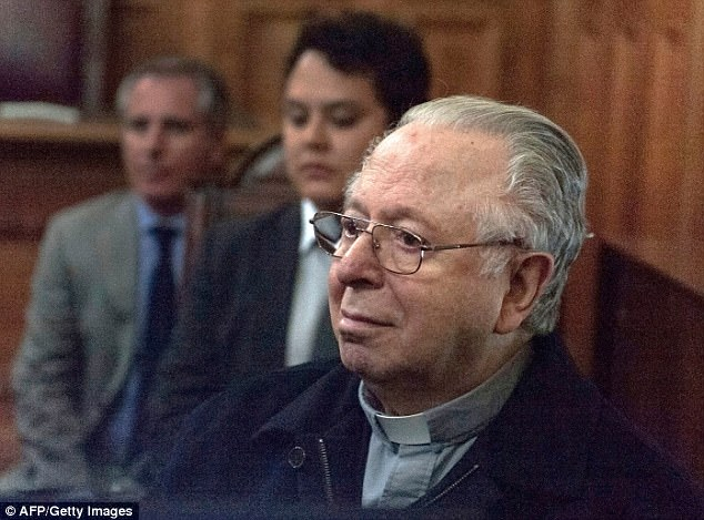 Victims of Karadima (pictured in court in 2015) reported to church authorities as early as 2002 that he would kiss and fondle them in the swank Santiago parish he ran