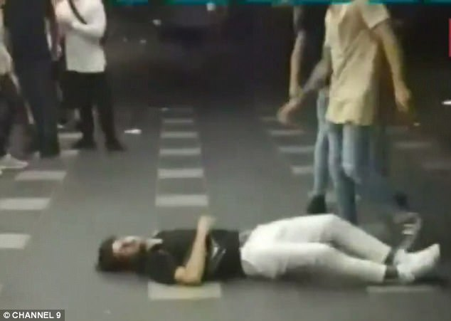 Maraku's victim (pictured) crashed to the tiled floor, rendering him unconscious after the attack