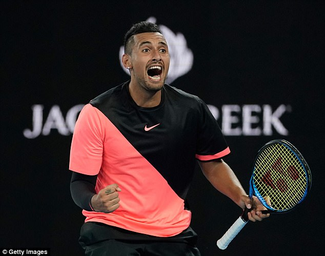 The hilarious moment was captured after Kyrgios (pictured) defeated Jo-Wilfried Tsonga