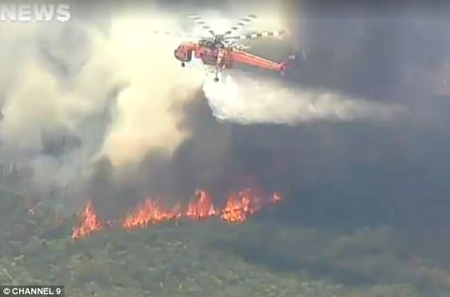 An out-of-control bushfire is raging in the NSW Royal National Park, near Bundeena