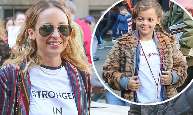 Nicole Richie brings her minime daughter Harlow to march