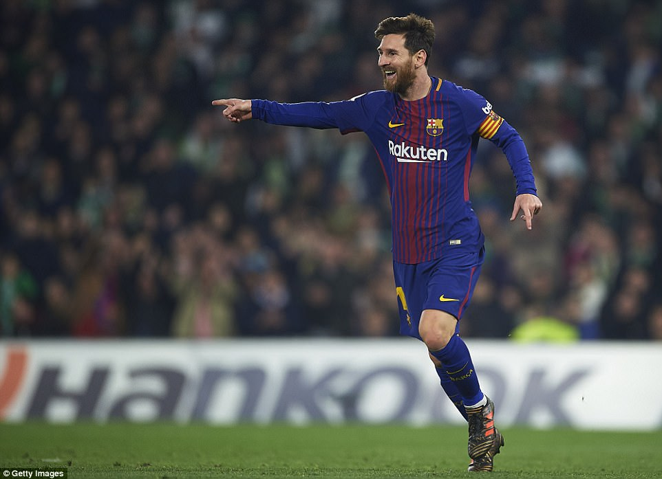 Messi wheels away in celebration after scoring his second goal at the night in the second half of the La Liga match