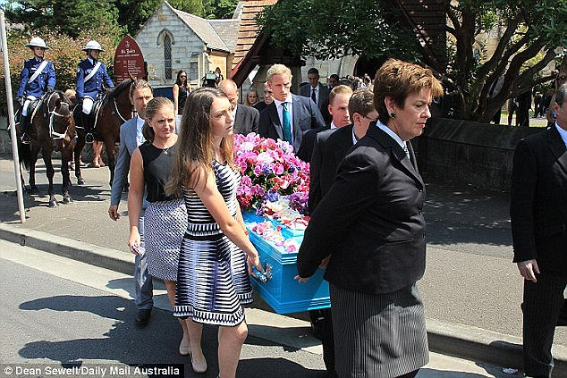 Olivia Inglis's coffin is carried from St Jude's Anglican Church at Randwick in March 2016