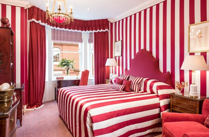 One of the striking bedrooms in the Egerton House Hotel in London, which was named one of the best in the UK for service