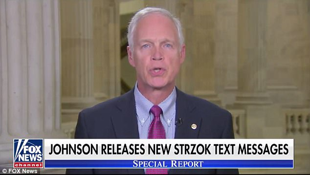 Senator Ron Johnson, a Republican from Wisconsin,is claiming on Tuesday that an FBI informant told Congress that a 'secret society' formed by agents of the bureau held off-site meetings after Donald Trump's election