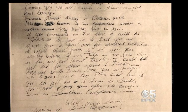 LETTER ALCATRAZ ESCAPEE JOHN ANGLIN SENT TO FBI IN 2013  Daily Mail Online