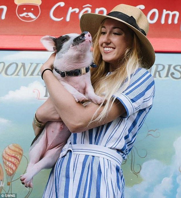 Mom: Owner, Maddie Johnson, 25, (pictured) rescued Pickles last year after the farm where he lived in Sacramento, California, flooded