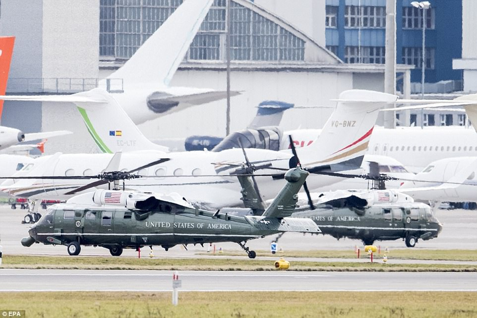 US helicopters stop to refuel at Zurich airport before escorting Trump to Davos, where he is due to spend the next two days speaking with world and business leaders