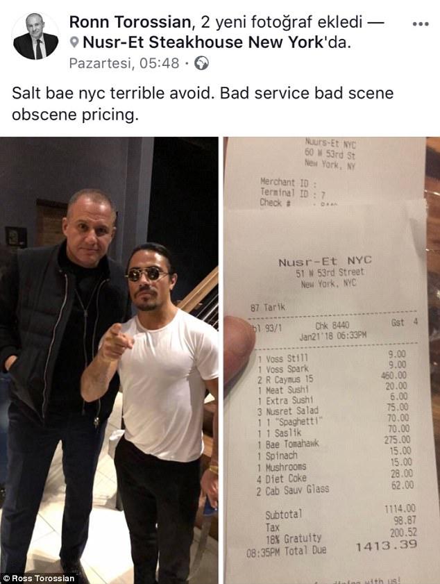 PR guru Ronn Torossian said he was hit with a $1413 bill when he visited Salt Bae's NYC restaurant
