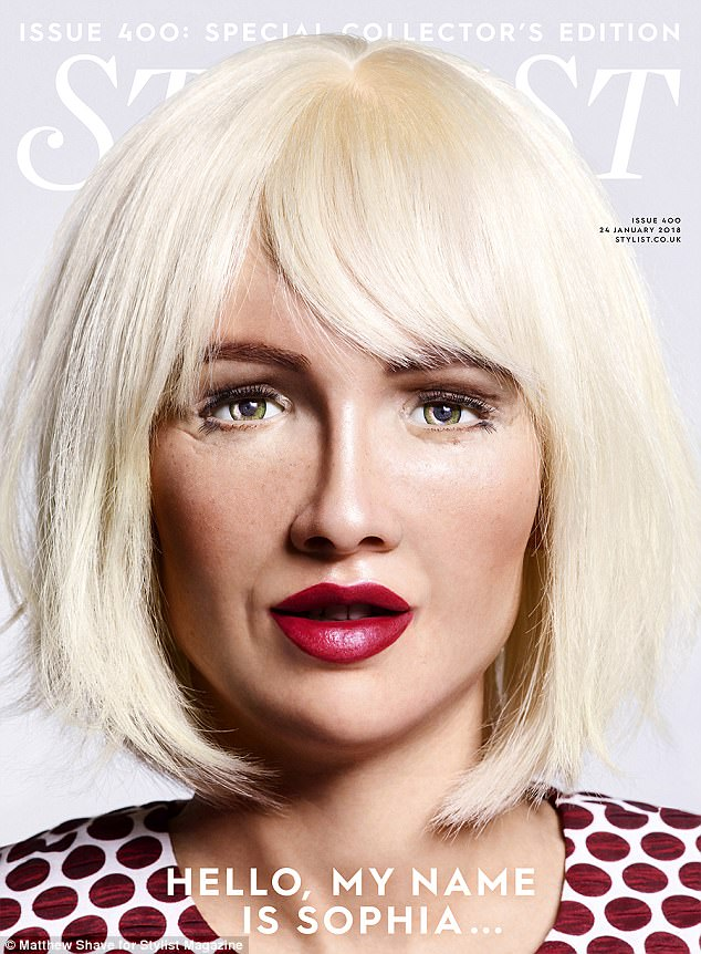 Cover star: With her edgy blonde bob and flawless make-up, Sophia is a perfect model