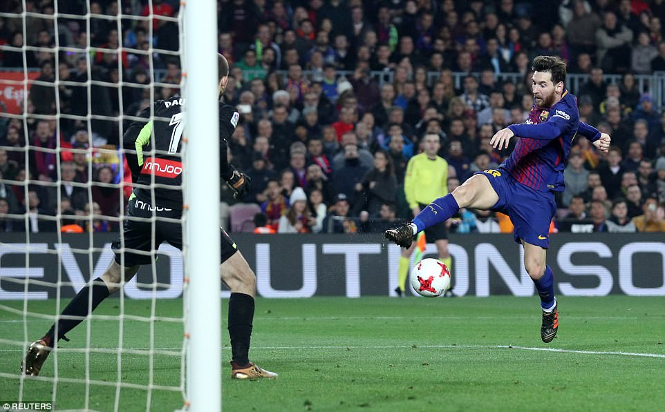 Messi then tries to make it three at the beginning of the second half, latching onto a ball into the box