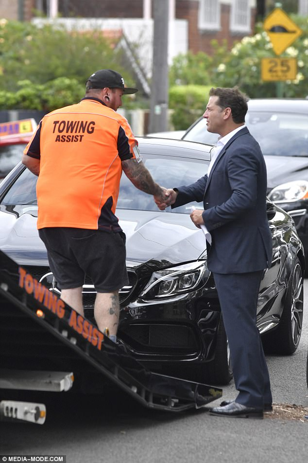 Thank god you're here: Soon after help arrived for the frustrated reporter, however it is unclear as to why a tow truck was called when he clearly cited lack of fuel as his issue
