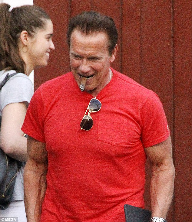 76aeedc8 Smiles: The Terminator hunk injected a pop of colour into an otherwise grey  day,