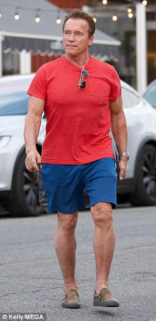 507d7a25 Chilled out: The casually clad Austrian strolled through the streets in  comfortable tanned trainers,. Puff away: Arnie enjoyed his ...