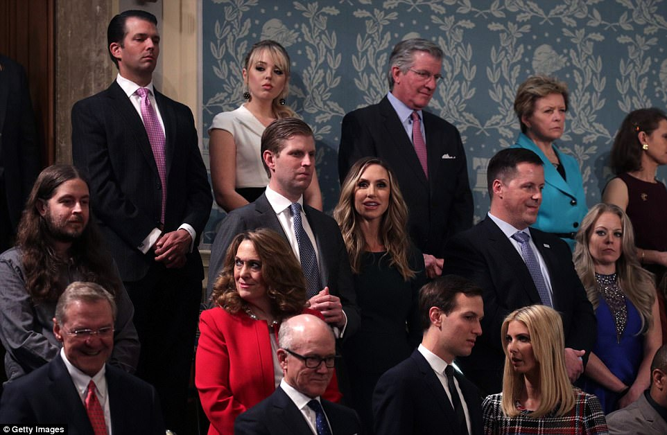 Donald Trump Jr, Tiffany Trump, Eric Trump, Lara Trump, Jared Kushner and Ivanka Trump attend the State of the Union address in the chamber of the US House of Representatives