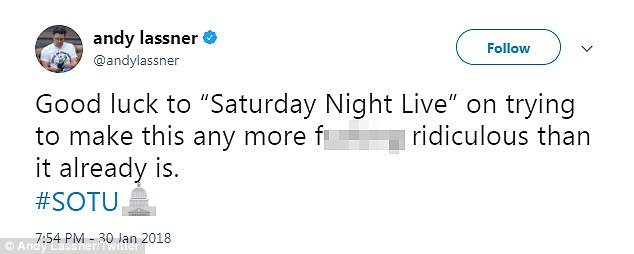 Andy Lassner, producer of the insufferably smug The Ellen Show sneered: 'Good luck 'Saturday Night Live' on trying to make this any more f***ing ridiculous than it already is'