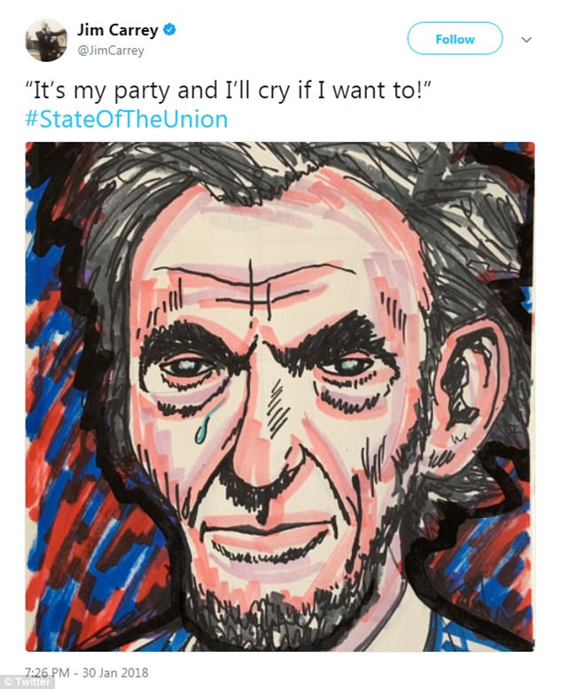 Actor Carrey also shared this picture of a weeping Abraham Lincoln and the caption: 'It's my party and I'll cry if I want to'