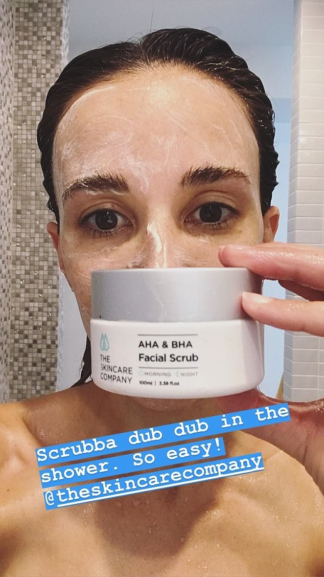 So that's how she does it! Rebecca Judd reveals the two products she uses to maintain her flawless complexion alongside a makeup free selfie taken in the shower