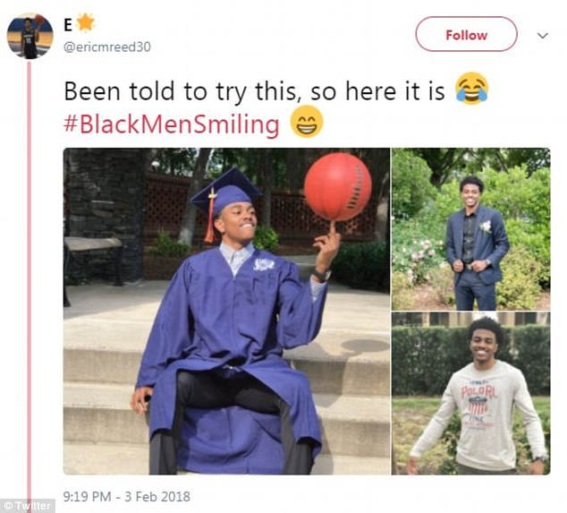 User Eric Reed posted a collage of photos featuring him in a graduation gown while spinning a basketball on his finger and added: 'Been told to try this, so here it is #BlackMenSmiling'