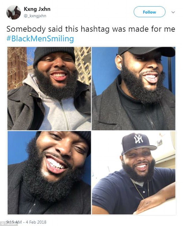 Somebody said this hashtag was made for me #BlackMenSmiling,' asserted a different user