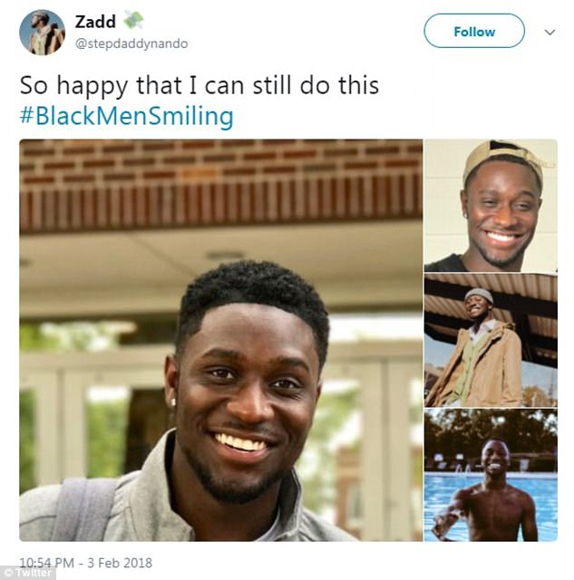Another said: 'So happy that I can still do this #BlackMenSmiling'