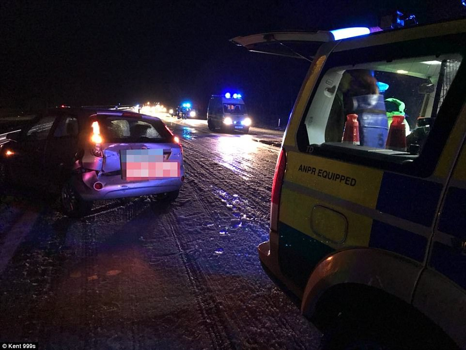 One car is left with a smashed back end after sleet causes slush on the M20 between junctions 8 and 9 in Kent