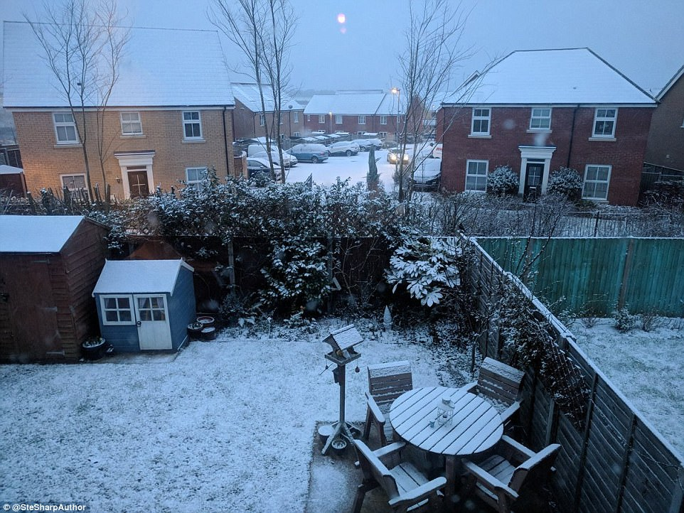 One Twitter user shared pictures as they awoke to the snowy scene in their garden in Suffolk this morning