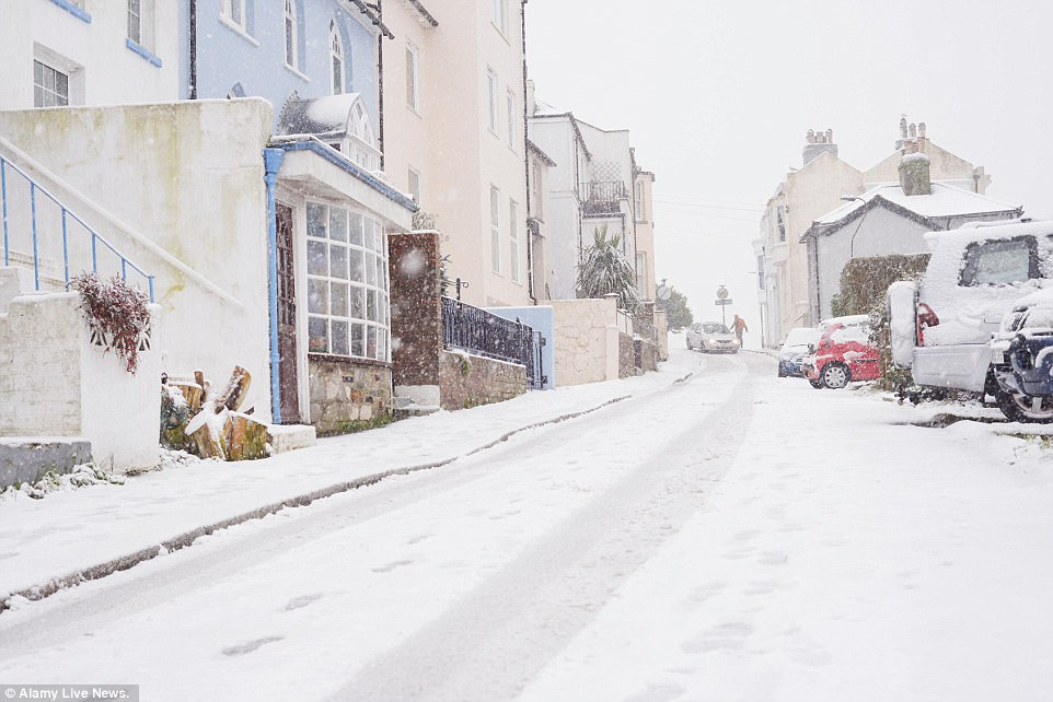 There was a wintry scene in Hastings, East Sussex this morning after plunging overnight temperatures led to a thick blanket of snow