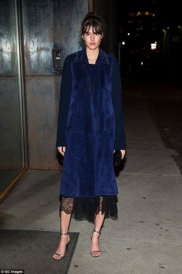 Sizzling siren:Vanessa Moody went for a deep blue dress which was edged with elegant lace for a hint of sex appeal