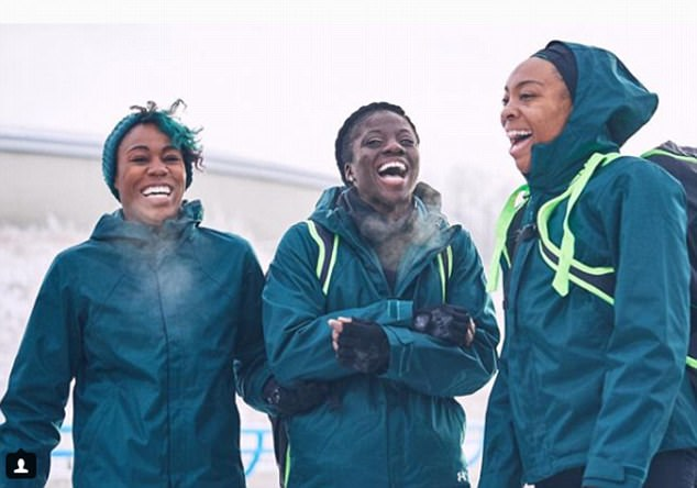Feeling the cold: The three team members, who all grew up in the United States, are seen laughing during a training session